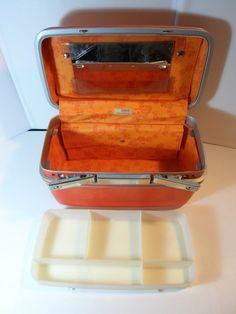VINTAGE Samsonite Makeup Train Case Cosmetic w/ tray mirror Tangerine Orange