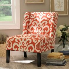 Coral Ikat Slipper Chair | Kirklands