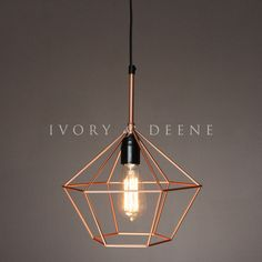 Ivory & Deene Copper Diamond Cage Wire 1 Light Pendant