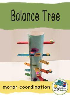 Make a fine motor balance tree - Therapy Fun Zone Fine Motor Activities For Kids, Motor Skills Activities, Fine Motor Skills, Sensory Activities, Sensory Rooms, Spring Activities, Sensory Play, Physical Activities, Toddler Activities