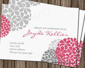 Modern floral bridal shower invitation DIY Printable wedding shower baby shower birthday invite fuchsia pink with mums hydrangea 4x6 or 5x7