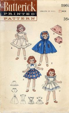 ORIGINAL  Doll Clothes Pattern 5969 for 21 inch Revlon Toni Sophisticate Cindy