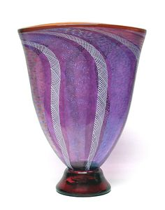 Amethyst Latticino and Dichroic glass vase by Ken Hanson and Ingrid Hanson: Art Glass Vase  - STUDIO SALE available at www.artfulhome.com