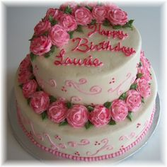 Pink Roses and Swirls - A Birthday cake for a lady who loves pink. All buttercream with pink pearl dust accents.