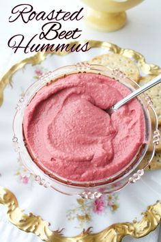 Roasted Beet Hummus: Add a little something special to your appetizer spread with this super creamy roasted beet hummus - and did we mention it's pink? Perfect with crackers, chips, or veggies!