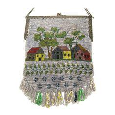 1920s Folk art americana Beaded Flapper bag