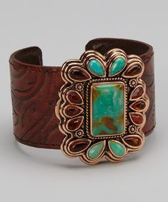 Look what I found on #zulily! Turquoise & Copper Leather Cuff by Barse #zulilyfinds