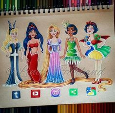 Disney Princessl Princess Tiana l Snow White l Rapunzel l social media princesses Disney Kunst, Arte Disney, Disney Fan Art, Disney Disney, Cute Disney Drawings, Cute Drawings, Drawing Disney, Drawing Faces, Amazing Drawings