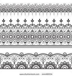 Indian, Mehndi Henna three line lace elements pattern for tattoo. Illustration isolated on white background