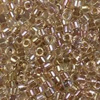 Miyuki 11/0 (1.6mm) Delica Taupe-Lined Crystal AB glass cylinder beads, colour number DB 64. UK seller.