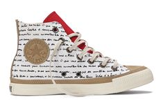 "Chuck Taylor All Star Hi Top Sneaker - A poem, authored by Oscar Niemeyer and written in his own handwriting, adorns the canvas upper of the sneaker: ""It is not the right angle that attracts me..."""
