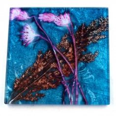 Gillian Arnold Turquoise Grass Glass Coaster