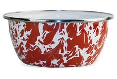 S/4 Salad Bowls, Red Swirl From the Home Decor Discovery Community At www.DecoAndBloom.com