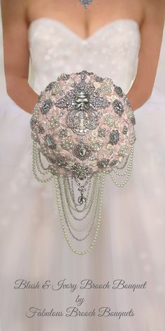 Brooch Bouquet, Brooch Bouquets, Bridal Bouquets, Wedding Bouquets, Plan your Wedding, Wedding Decorations, Custom Weddings, Blush Bouquets, Blush & Ivory, Bouquets, Chanel Weddings, Cascading Brooch Bouquets, Cascading Brooch Bouquet