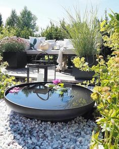 Water is always a fabulous feature in an outdoor garden Small Water Gardens, Back Gardens, Outdoor Gardens, Ponds Backyard, Backyard Patio, Backyard Landscaping, Pond Design, Landscape Design, Water Features In The Garden