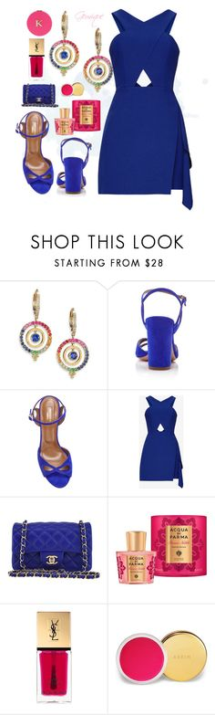 """""""Sapphire"""" by gemique ❤ liked on Polyvore featuring Temple St. Clair, Aquazzura, Chanel, John Lewis, Yves Saint Laurent, AERIN and Miss Selfridge"""