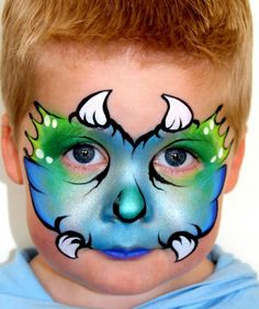 Blue monster boy mask face painting