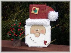 Cute santa from patio paver! Concrete Block x Santa Crafts, Holiday Crafts, Holiday Fun, Diy Crafts, Holiday Decor, All Things Christmas, Winter Christmas, Christmas Holidays, Christmas Decorations