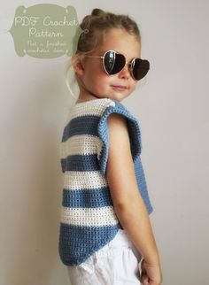 Crochet Pattern: The Alana T Shirt-6 Sizes Child XS, S, M Adult XS, S, M-hi lo hem, stripes, shirt, summer, cropped by NaturallyNoraCrochet on Etsy