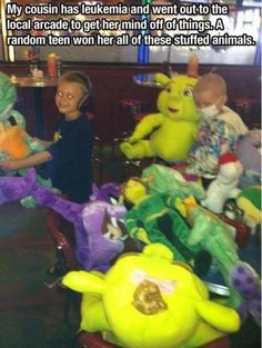 """caption - """"cousin has leukemia and went to a local arcade to take her mind off things....a teenager won all these toys for her"""""""