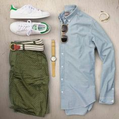 """""""Mid week flow"""" by ✔️ - Sneakers: Adidasoriginals Stan Smith - Watch: Timex - Chambray Shirt: Bonobos - Shades: Colehaan - Shorts: Jcrew - Belt: Jcrewmens - Bracelet: Kjp - Mode Outfits, Casual Outfits, Men Casual, Fashion Outfits, Fashion Clothes, Bermudas Fashion, Mode Shorts, Men's Shorts, Green Shorts"""