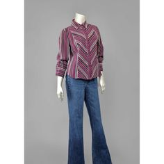 Vintage 90s Blouse • Chevron Striped Shirt • Long Sleeve Button Down Shirt • 1970s Style Striped Blouse • Burgundy Plum Grey 1990s Shirt (M/L)    #vintage #clothing #fashion #shirt #shirts #blouse #blouses #chevron #striped #90s #1990s #style #70s #1970s #womens #etsy