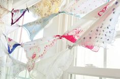 vintage hankies...i like how these are just tied together...party banner?