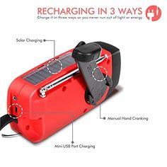 awesome Ecloud Shop® Linterna  solar de la emergencia de la manivela Auto Powered AM / FM / NOAA Weather Radio, 50 lumen LED y 1000mAh Móvil del cargador del banco de alimentación rojo