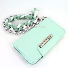 Galaxy s3, s4, iPhone 4s, iPhone 5, note 2, htc one m7 mint silver studded flap wallet phone case matching chunky chain braid wrist lanyard on Etsy, $25.99 http://fashionbagarea.blogspot.com/  #chanel #handbags #bags #fashion women chnael 2015 bags are under $159