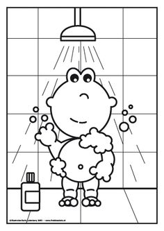 Frokkie staat onder de douche. Coloring Pages For Girls, Hygiene, Preschool Worksheets, Hello Kitty, Teaching, Cartoon, Water, Adhd, Puzzle