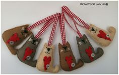 Cat felt Ornament. Hanging Felt Cat Ornament. by CraftyCatLadyUK