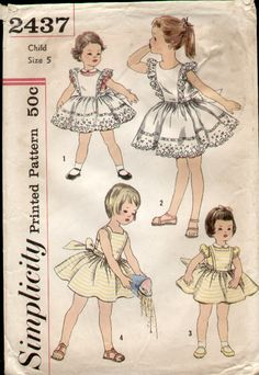 1958 Sewing pattern for little girls summer dresses