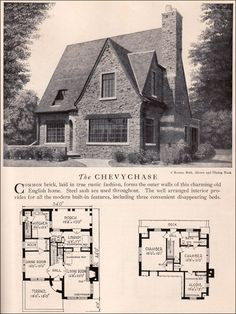 Chevychase House Plan - Vintage American Architecture - 1929 Home Builders Catalog - English Revival House Style. Note the disappearing beds! Victorian House Plans, Vintage House Plans, Victorian Homes, Tudor Cottage, Tudor House, Cottage Homes, Storybook Homes, Storybook Cottage, Architecture Design