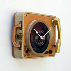 Record Player Clock    There may be nothing cooler than a briefcase record player, except one that tells the time. Instead of being scrapped, these relics from decades past can find a second life as time keepers. [Source: Pixelthis] Photo: Pixelthis/Etsy