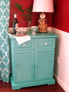 Trash to treasure - nighttable repurposed in the dining room.   Paint color: Behr Teal Zeal