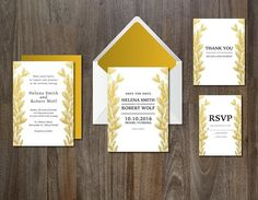 Wedding Invitation Suite Gold Leaves. Watercolor Flowers