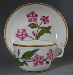 Staffordshire porcelain cup and saucer, circa 1810