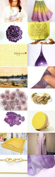 yellow and purple by Kasia on Etsy--Pinned with TreasuryPin.com