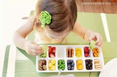 Using an ice cube tray as a snack tray will help with the bird like picking of a toddlers snacking habits. Just remember to load it up with those healthy snacks :) Ice Cube Trays, Ice Tray, Ice Cubes, Toddler Snacks, Baby Snacks, Kid Snacks, Night Snacks, Baby Food Recipes, Kids Meals