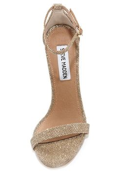 d5924979181 Steve Madden Stecy Gold Fabric Ankle Strap Heels