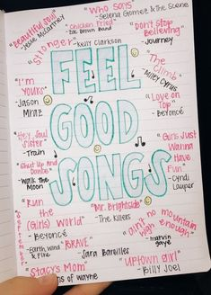 List of fun, feel-good songs to listen to when you need a pick-me-up or some motivation Good Vibe Songs, Mood Songs, Music Mood, Music Lyrics, Music Songs, My Music, Song Lyric Quotes, Bullet Journal Writing, Bullet Journal Ideas Pages