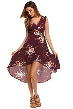 cbc070264a02 Zeagoo Women s V-Neck Sleeveless Hi Low Dress Floral Print A Line Midi Dress  at Amazon Women s Clothing store