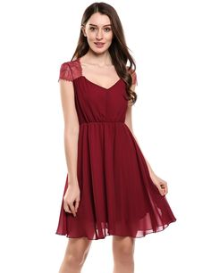 Red V-Neck Cap Sleeve Floral Lace Chiffon Pleated Wedding Bridesmaid Dresses