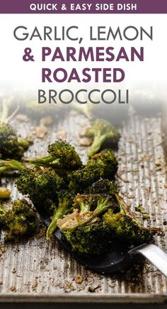 This easy parmesan roasted broccoli has plenty of garlic and lemon for a quick side dish! Baked Broccoli Recipe, Garlic Roasted Broccoli, Fresh Broccoli, Broccoli Recipes, Broccoli And Cheese, Pasta Recipes, Quick Side Dishes, Crockpot Side Dishes, Vegetable Side Dishes