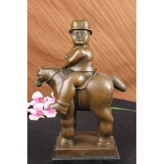 ON SALE !!! Fernando Botero Man On Horse Modern Art Figurine...The Curvy Young Man Rides A Rather Large Horse, With His Head Titled Turned To The Side. The Composition Recalls The Classical Sense Yet Adopts A Modern Abstract Flair That Gives His Body An Added Emphasis On His Curvaceousness. He Seems To Coyly Look Away As If Blushing Due To The Gushing Admiration He Gets From The Beholder Witnessing His Body. The Bronze Sculpture Was Captured Using The Ancient Method Of Lost-Wax Casting ...
