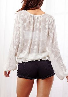 White Lace-Up Top | lookbook.