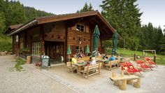 Looks like a nice restaurant close to Radstadt Outdoor Furniture Sets, Outdoor Decor, Cabin, Restaurant, Nice, House Styles, Summer, Home Decor, Road Trip Destinations