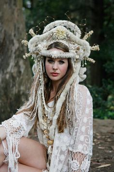 Earthy Goddess Fur and Netted Headdress by lotuscircle on Etsy