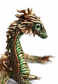 Dragon DragonSkulptur Fimo Dragon von UniqueBeachJewellery auf Etsy