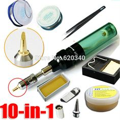 10 in 1 green Gas Blow Torch Butane Gas Soldering Iron Gun Cordless Solder Iron MT-100 #hats, #watches, #belts, #fashion, #style